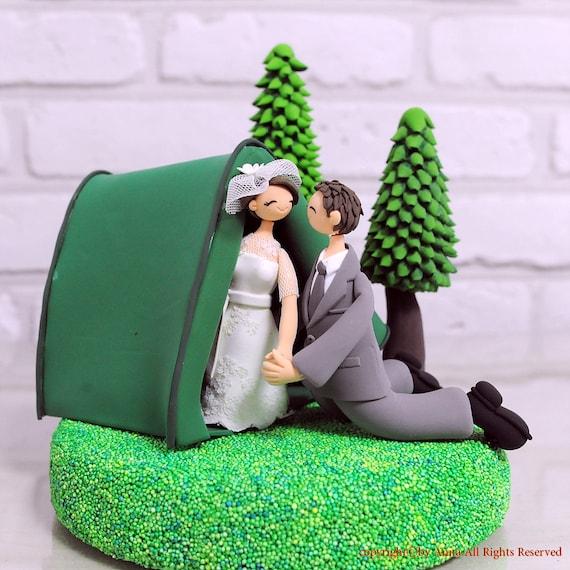 Outdoor Wedding Cake Ideas: Custom Wedding Cake Topper Outdoor Camping Theme Gift