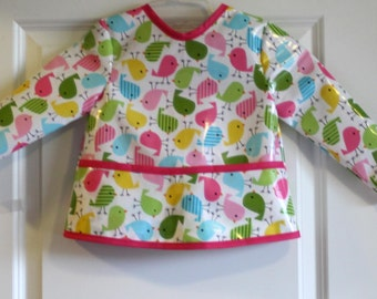 Girls Long Sleeved Art Smock Art Apon with Pastel Birdies