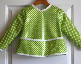 Toddler Baby Waterproof Long Sleeved Art Smock Baby Bib in Lime with Mini Dots