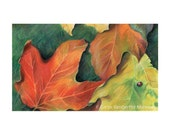 """Maple leaves in fall colors, orange, red, yellow - """"Autumn Leaves"""" - Blank Note Card - Greeting Card, Special Occasion, Just Because, Nature"""