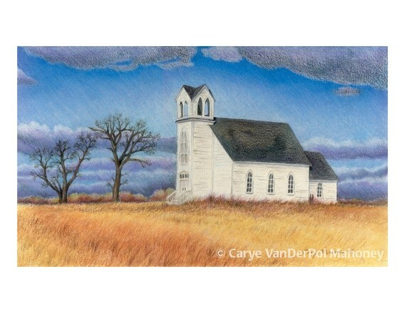 Landscape Note Cards - Pack of 5 - GREAT Christmas Gift or Stocking Stuffer - Country church, road field, truck, beach, red barn