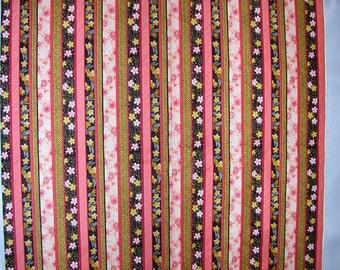 Geisha Garden Asian Stripe Pinks, Black, Golds Cotton  1 Yard   (SM180)
