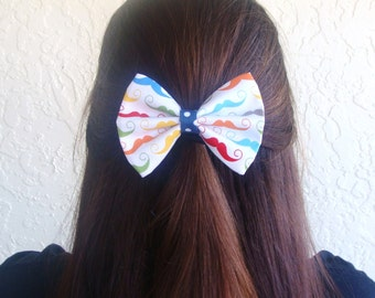 Hair Bow Vintage Inspired 1920s Mustache with Blue Polka Dots Hair Bow Clip Rockabilly Pin up Teen Woman Alligator Clip, French Barrette