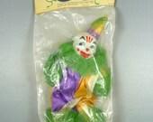 SALE Vintage Mardi Gras Corsage Throw New Orleans Purple Gold Green Jester Clown Decoration NIP