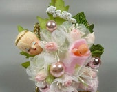 Vintage Baby Shower Corsage Pink Guardian Angel Its a Girl Retro Style for Mommy to Be Decoration