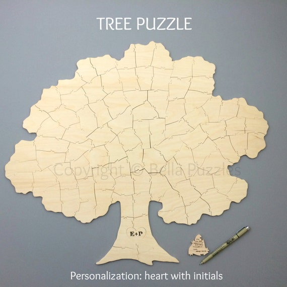 Rush for Annika -- Custom 60 piece TREE Puzzle Wedding Guest Book Alternative by BELLA PUZZLES. Deliver to Canada by Nov 24.