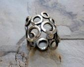 Sterling Silver Ring, Circles Ring, Circles band, Silver Wide Band, Statement Ring, Shiny Silver Ring, everyday Casual ring,Simple Ring #328