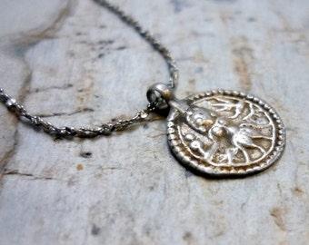 Vintage Tribal Pendant, Antique Silver Pendant, Silver Amulet Hindu, Coin Hindu Pendant, Vintage Silver Necklace, God Shiva Necklace