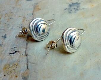 Button Earrings, Sterling Silver Earrings, Round Silver Earrings, Dangle Earrings, Shiny Silver Earrings, Simple Silver Earrings K#338