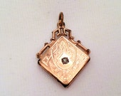 Antique Victorian Rose Gold Filled Pendant Etched Paste Rhinestone Watch Fob Art Deco Interesting Jewelry