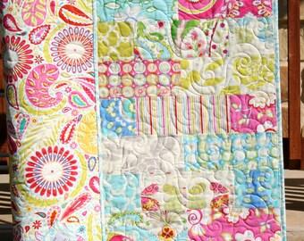 Kumari Garden Baby Girl Quilt, Pink Paisley Crib Bedding, Modern Blanket, Aqua Blue Butterfly Flowers, Designer Nursery