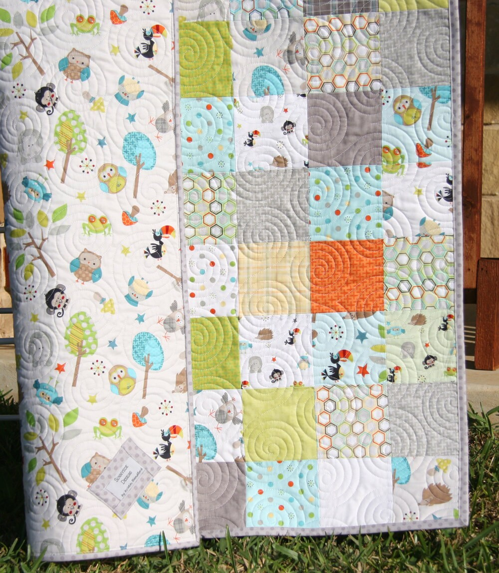 Jungle Quilt Baby Boy Blanket Forest Animals By