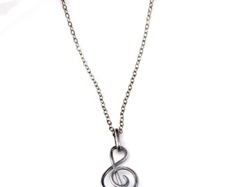 Treble Clef Necklace, Music Lovers Necklace, Oxidized Sterling Silver Treble Clef Pendant Necklace