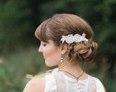 bridal pearl hair comb, bridal headpiece pearl, side hair combs, ivory flower hair clip, bridal hair comb pearl, lace head piece, keepsake