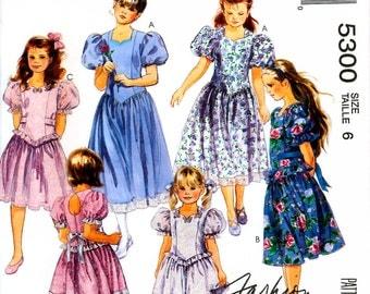 McCall's 5300 Children's and Girls' Sweetheart Princess Dress Sewing Pattern - Uncut - Size 6