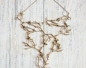 Statement Twig Necklace, Bronze Branch Necklace, Cascading Twig Necklace, Nature Jewelry, Woodland, Rustic Wedding Necklace, Metal Tree Bib