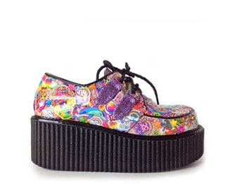 Smiley Face Unicorn Glitter Mega Platform Wedge Hand Made Collaged Art Creepers / Custom Size