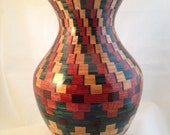 Red, Yellow, and Green Southwestern Style Art Vase of Exotic Woods