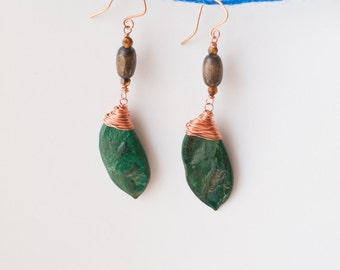 Magic Beans Earrings of Copper wire and India Wood green Thai Patay Pods and Faceted Tigers eye rounds on hand formed copper hooks long