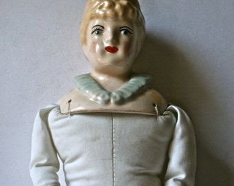 Painted Porcelain China Doll Fully Assembled with Stuffed Body for Doll Making