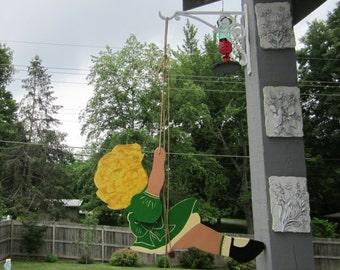 Vintage Girl on Swing - Hand Painted Wooden Folk Art - Deco Era Wall Hanging - Window or Wall Decor