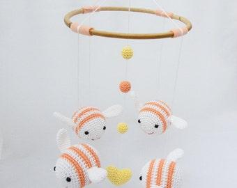 Bee Baby Mobile, Bumble Bee Nursery Mobile, Nursery Decor, Baby Shower Gift, Apricot Baby Mobile
