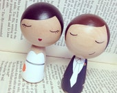 Custom Mini Kokeshi Wedding Cake Toppers