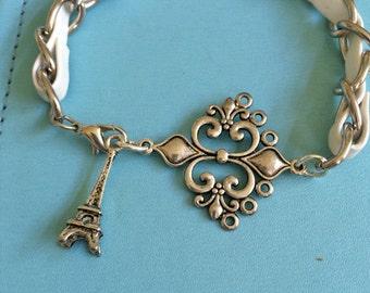 Paris White Leather Bracelet
