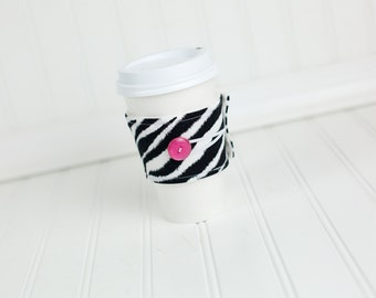 Zebra Print Coffee Sleeve Hot Pink Button  Animal Print Fabric, Coffee Cozy Cuff, Coworker Gift