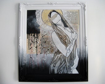 large mixed media painting. abstract modern icon. our lady of forseeable risk.
