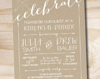 CELEBRATE Poster Engagement Party / Couples Shower  / Rehearsal Dinner Invitation - Printable digital file or printed invitations
