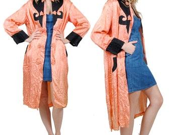 Vintage Silk Kimono - Orange Kimono Robe Jacket - Medium - Large - Extra Large
