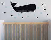 Black Whale Wall Decal, Nursery Wall Decal, Balck Nursery, Whale Stickers. Whale Children Wall Decal