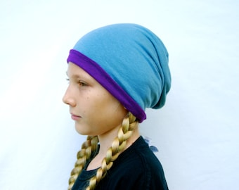 Childrens Hat - Repurposed - Organic Clothing - Reversible - Slouch Hat - Beanie - Purple Blue - Eco Friendly Jersey