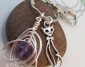 Cat  Keychain Keyring  little silver cat charm wire wrapped amethyst gemstone with swivel clasp