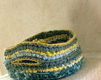 Rag crochet basket  - fabric scraps and plarn blue and yellow with handles
