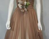 Seymour Jacobson Vintage Caramel Chiffon Dress - - A'la Grace Kelly