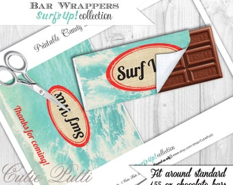 Surfing Party, Surfer Party, Pool Party - Printable Chocolate Bar Wrappers - Cutie Putti Paperie