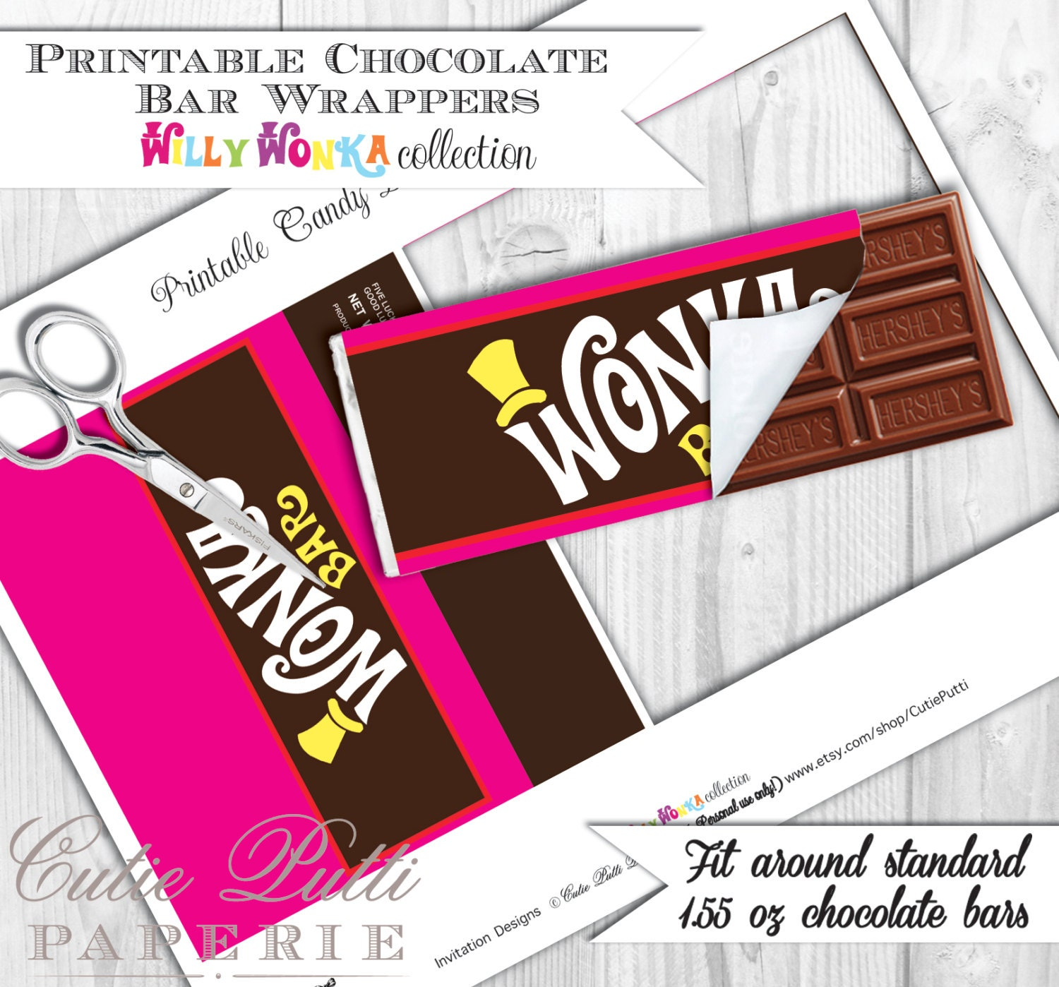 Willy Wonka Party Candy Party PRINTABLE CHOCOLATE Bar