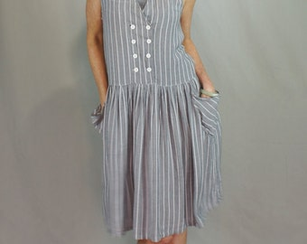 1990's Railroad Stripe Minimalist Jumper Dress