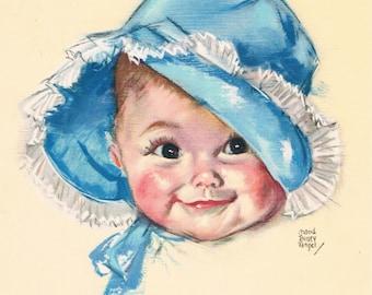 Baby Blue Bonnet Maud Tousey Fangel Calendar Art Print