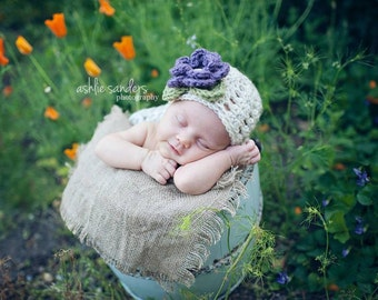The Ashlee Beanie in Dusty Purple, Wheat and Olive Green Available in Newborn to Tween Size- MADE TO ORDER