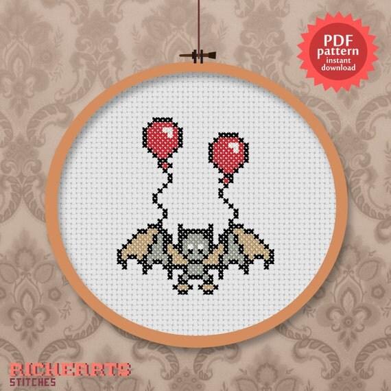 Cute Bat and balloons PDF cross stitch pattern