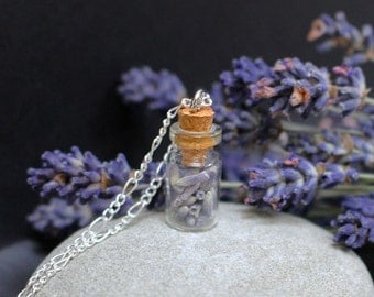 Lavender Tiny Bottle Necklace with Free Pressed Flower Gift Box