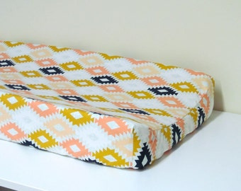 Baby Changing Pad Cover - Arizona - Agave Field - Contoured - in White, Peach, Mint, Mustard, and Navy