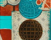 Turning, mixed-media/acrylic on canvas, map art