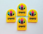 Embroidered Crayon Box Felt Applique -Back to School Crayon Box-Crayon Felties -Felt Appliques-UNCUT (Set of 4)
