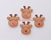 Reindeer Felties- Sleepy Reindeers Felt Applique - Reindeer Embroidered Felt Stitches - Reindeer Applique-UNCUT (Set of 4)