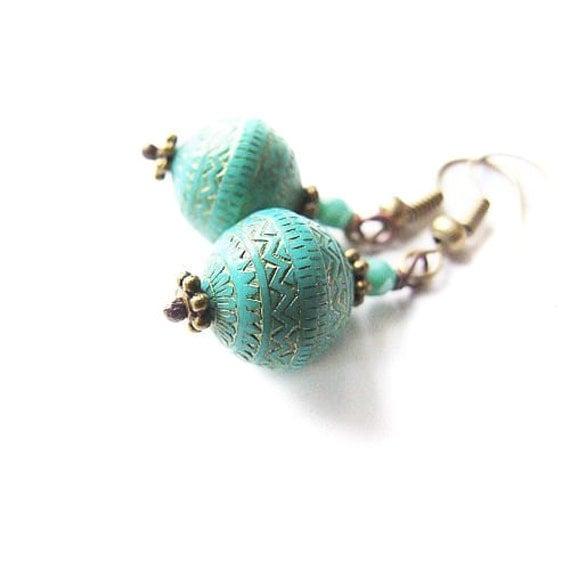 Ethnic Earrings, Blue Bohemian Dangle Earrings, Turquoise Blue Etno Earrings