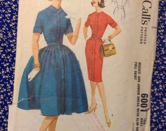 "5 BUCKS Vintage McCall's 6001Yoked Shirt  Dress Sewing Pattern 32"" Bust 1960s"